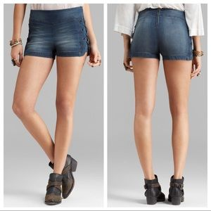 Free People High Waist Lace Up Shorts Size 30